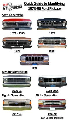 Awesome Ford 2017: Ride Guides: A Quick Guide to Identifying 1973-96 Ford Trucks Frentes de pick—ups