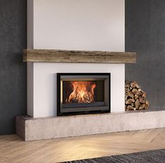 These 3 doors wood burning stoves are created, produced and marketed by Stûv that also produces pellet stoves, fireplaces, wood inserts, open fires and gas fires Inset Fireplace, Fireplace Inserts, Fireplace Design, Fireplace Mantels, Wood Burning Insert, Wood Insert, Contemporary Wood Burning Stoves, Contemporary Fireplaces, Inset Stoves