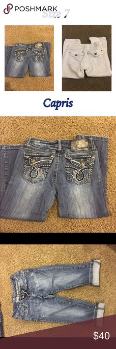 Two pairs of LA Idol Capris Used, good condition capris. You'll get original jean color and white with white stitching capris LA Idol Jeans