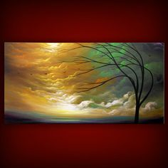 art abstract oil original painting yellow art abstract painting original acrylic painting cloud tree sunset 24 x 48 Mattsart
