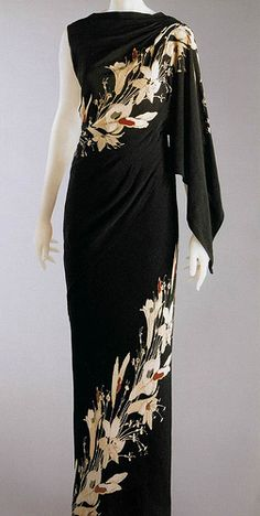 Schiaparelli 1935 black evening gown unique one shoulder sleeves 30s floral print long dress vintage fashion style designer museum
