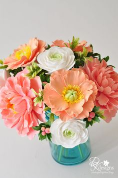 coral flowers & blue mason jar vase