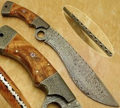 HANDMADE DAMASCUS STEEL Knife  Overall Length: 15 inches   Handle Material:  Handle made of Damascus and Natural kai wood  Blade Hardness: 56-60 HRC  THE BLADE  THIS IS A BRAND NEW KNIFE. THIS KNIFE D