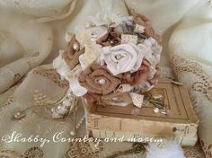 Burlap and lace wedding bouquet! For a shabby chic wedding....