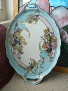 Large-Oval-Platter-16-x-11-Hand-Painted-Violets-platter-with-Double-Handles