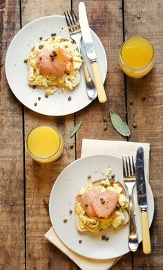 Creamy Eggs with Sage & Parmesan, Smoked Salmon and Capers on Toast