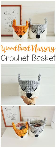 I looove these crochet animal baskets!! Very cute for my baby girl's woodland themed nursery. #woodlandnursery #animals #crochetanimals #crochet #diy #nurseryideas #ad