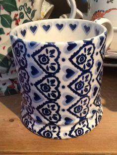 Emma Bridgewater Studio Special Blue Sampler Hearts 0.5 Pint Mug for Collectors Day