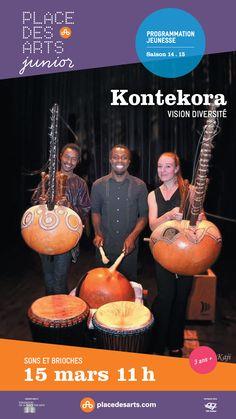 Place des Arts junior KONTEKORA le 15 mars 2015. La compagnie de théâtre Tout le monde s'appelle Alice et les musiciens du Lavoie-Tounkara Trio s'unissent pour créer une aventure musicale et théâtrale aux rythmes de la kora, cette harpe-luth africaine aux accents délicats et mélodieux.