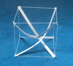 Tensegrities with four curved struts that pass through a central crossing. Tensile Structures, Platonic Solid, Design Theory, Arch Model, Bamboo Furniture, Hanging Mobile, Abstract Lines, Paper Folding, The Struts