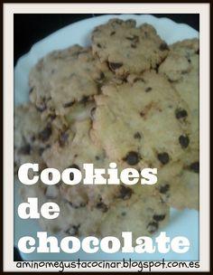 Receta muy fácil para hacer unas ricas y crujientes galletas de chocolate tipo cookies. En el blog A mí no me gusta cocinar.