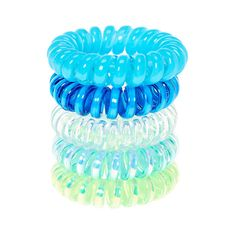 Blue and Green Mini Coiled Hair Ties  4062d057d65