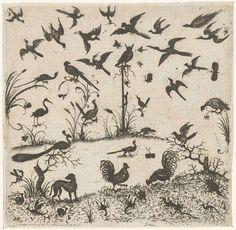 Esaias van Hulsen | Birds, Esaias van Hulsen, 1617 | Een uil zit op een paal in het midden. Onderaan lopen kippen en een hond. Uit serie van 6 bladen.