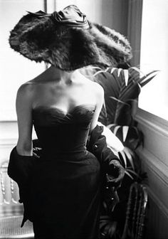 Christian Dior gown with fur hat, Photo Mark Shaw