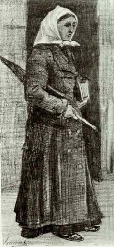 Sien with Umbrella and Prayer Book, Feb 1882 - Vincent van Gogh