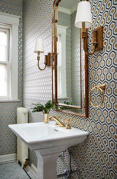 Hicks Hexagon Wallpaper in Powder Room - Transitional - Bathroom Hexagon Wallpaper, Room Wallpaper, Bathroom Wallpaper, Powder Room Wallpaper, Geometric Wallpaper, Beautiful Bathrooms, Pedestal Sink, Wallpaper Accent Wall, Bathroom Mirror