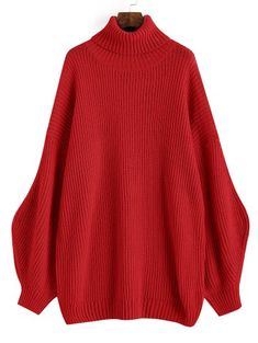 SHARE & Get it FREE   Lantern Sleeve Turtleneck Oversized Sweater - RedFor Fashion Lovers only:80,000+ Items • New Arrivals Daily Join Zaful: Get YOUR $50 NOW!