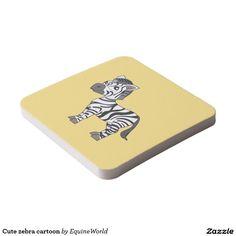 Cute zebra cartoon square paper coaster