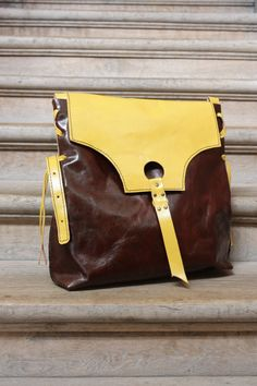 Women's Handbag, Leather handbag, Handbag, Brown&Yellow  Bag, Hand Made Bag, Totes, Shoulder Bag by clothesNavaho on Etsy