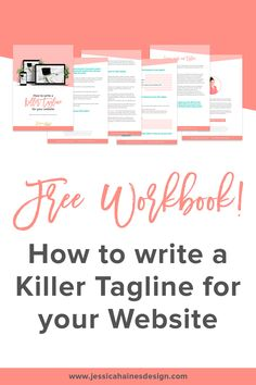 Did you know it takes someone less than 5 seconds to make a judgment on your website and decide whether they will hang around? First impressions really do matter!  In this workbook, you will learn:   -     How a killer tagline can keep your ideal client hanging around  -     The 6 elements that make up a killer tagline  -     How you can maximize the use of your killer tagline  +     Fillable sections where you can write your own as you go! Web Design, Website Design Layout, Entrepreneur, Your Website, Graphic Design Projects, Mood, Portfolio Website, 5 Seconds, Design Process
