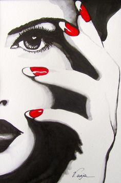Фрагменты женских лиц. Anja Verbruggen Acrylic Painting Tips, Beauty Logo, Black White Art, Red Nails, Art Girl, Crying Eyes, Jason Bourne, Beauty Salons, Photo Art