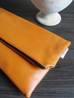 Clutch Handbag Purse Fold Over Vegan Faux by AtlanticCrossing, $50.00