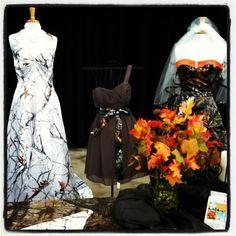 Camo Wedding Dress, brown bridesmaids dress with camo sash, orange and camo and snow camo inspiration