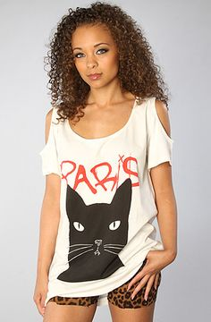 #misskl #springtimeinparis Joyrich The Paris Cat Shoulder Tee : MissKL.com - Cutting Edge Women's Fashion, Accessories and Shoes.