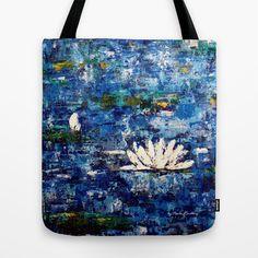"""Tote Bag """"Water Lily 2"""" by Paula Rindborg #art #design #awesome #print #poster #color #cool #gift #ideas #trend #bag #painting #lovely #flowers #colorful #girls #beautiful #blomma #totebag #society6"""