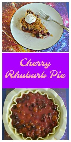 Sweet and tart this Cherry Rhubarb Pie is a family favorite! #cherrypie #pierecipes #rhubarbrecipes | Cherry Recipes | Pie Recipes | Rhubarb Recipes | Dessert Recipes | Fruit Recipes | Trifle Pudding, Pudding Desserts, Cheesecake Desserts, Köstliche Desserts, Strawberry Desserts, Sweet Desserts, Cherry Recipes, Fruit Recipes, Desert Recipes