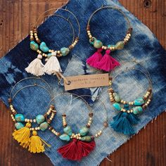 Limited quantity.  Handmade turquoise, gold beads and tassel hoop earrings.    Each item is carefully made by hand in my home studio.