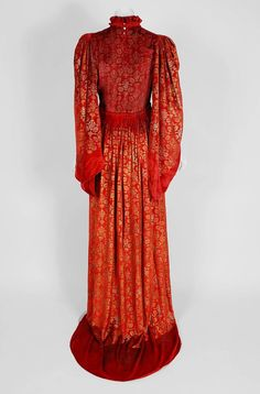 1920's Gallenga Couture Metallic Stenciled Red Velvet Angel-Sleeve Trained Gown (back)