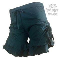 Cotton Ruffled Dark Forest Green Drawstring Festival Shorts Bloomers Cinch Sides #Jayli #CasualShorts #Summer