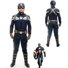 Captain America 2 Steve Rogers Outfit Halloween Cosplay Costume