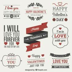 Conjunto de etiquetas Dia dos Namorados