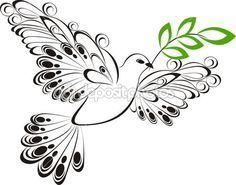 Vector dove whit olive branch Symbol of peace and unity Stock Photo - 20225679 Super Hero Tattoos, Cute Tattoos, Body Art Tattoos, Sleeve Tattoos, Tatoos, Dove With Olive Branch, Dove And Olive, Olive Branches, Dove Tattoo Meaning