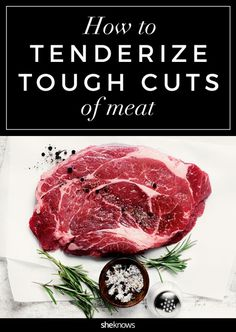 Don't suffer through that tough steak — tenderize it with these quick tips Here's how to tenderize a tough piece of meat. Meat Tenderizer Recipe, Steak Tenderizer, Baked Meat Recipes, Steak Recipes, Copycat Recipes, Cheap Steak, Beef Marinade, Steak Marinades, Frozen Steak