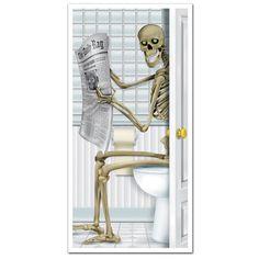 Halloween Decorations Party Skeleton Restroom Door Cover Wall Decor Prop Scary | eBay