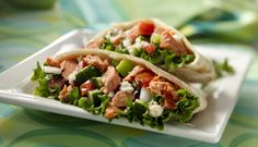 Is it really possible to eat something this delicious with one hand?  Salmon Pita wraps!