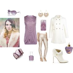 """A pale lilac and white gold set"" by besyata on Polyvore"