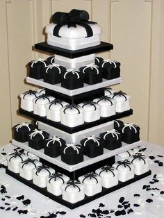 Black and White Cupcake or Favor pyramid