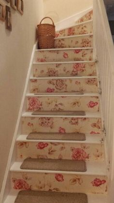 My wallpapered stairs. My little cottage living room is complete!