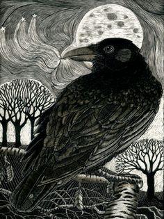 Raven Moon  Fine Art Print by KayLeverton on Etsy, £40.00