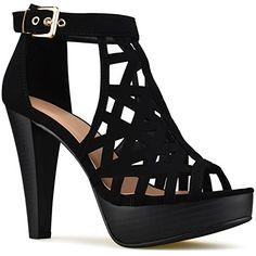 1b3f90a95474d Premier Standard - Women s Laser Cut Out Ankle Strap High Heel - Open Toe  Sandal Pump - Chunky Wooden Heel Platform Shoe