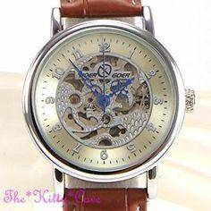 Silver Mechanical Clockwork Skeleton Steampunk Tan Leather Unisex Gents Watch