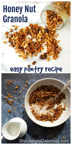 Honey Nut Granola is simple to make, with a peanut butter and honey base coating oats, flax, dried fruit, almonds and chocolate. It's perfect for breakfast with milk, over yogurt or as a snack straight from the jar. #shockinglydelicious #granolarecipe #easygranola #glutenfreegranola Vegan Brunch Recipes, Healthy Crockpot Recipes, Dessert Recipes, Cooking Recipes, Healthy Snacks, Savory Breakfast, Sweet Breakfast, Breakfast Recipes, Breakfast Time