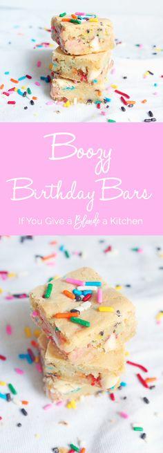 Boozy Birthday Bars with Funfetti cake mix and Amaretto liquor | Recipe by @haleydwilliams