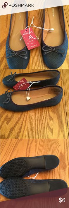 Shoes Blue shoes with cute tie on top. Nwt. Merona Shoes Flats & Loafers