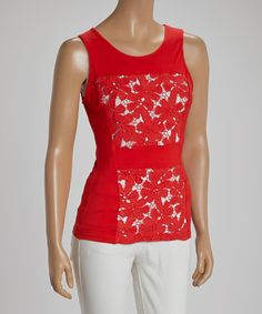 Loving this Red Cutout Floral Embroidered Sleeveless Top - Women on #zulily! #zulilyfinds