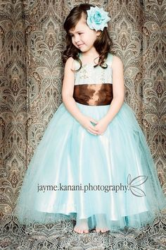 Girls Tiffany Blue Floral Print Slip Tutu Dress by FairyWonderful, $110.00 @Savannah McCall